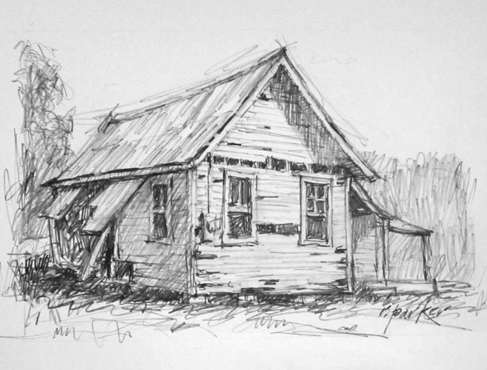 Sketches pencil ink for House sketches from photos