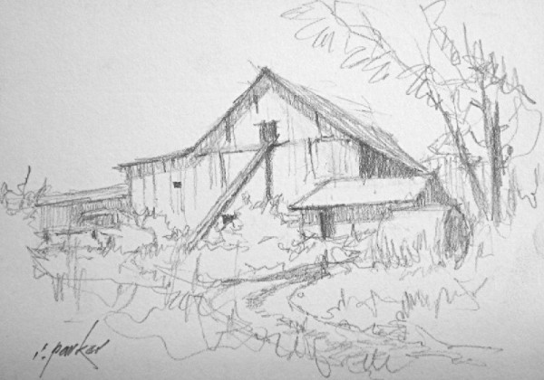 Barn Sketch (Pencil) No 2 5x7